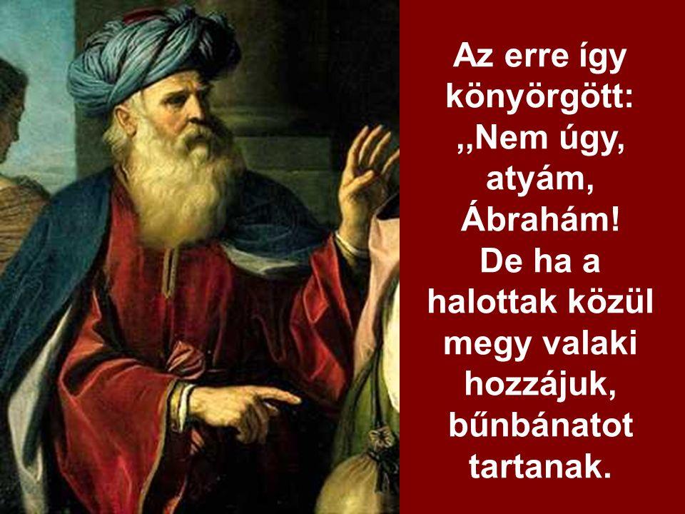 Ábrahám ezt válaszolta:,,Van Mózesük és prófétáik, hallgassanak azokra!