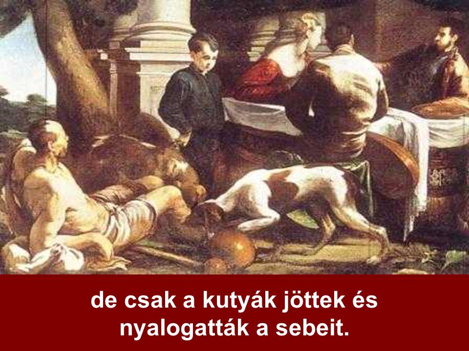 de csak a kutyák jöttek és nyalogatták a sebeit.