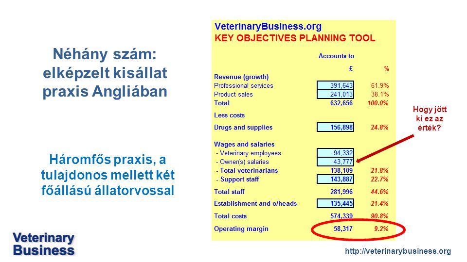 http://veterinarybusiness.org Háromfős praxis, a tulajdonos mellett két főállású állatorvossal Néhány szám: elképzelt kisállat praxis Angliában Hogy jött ki ez az érték?