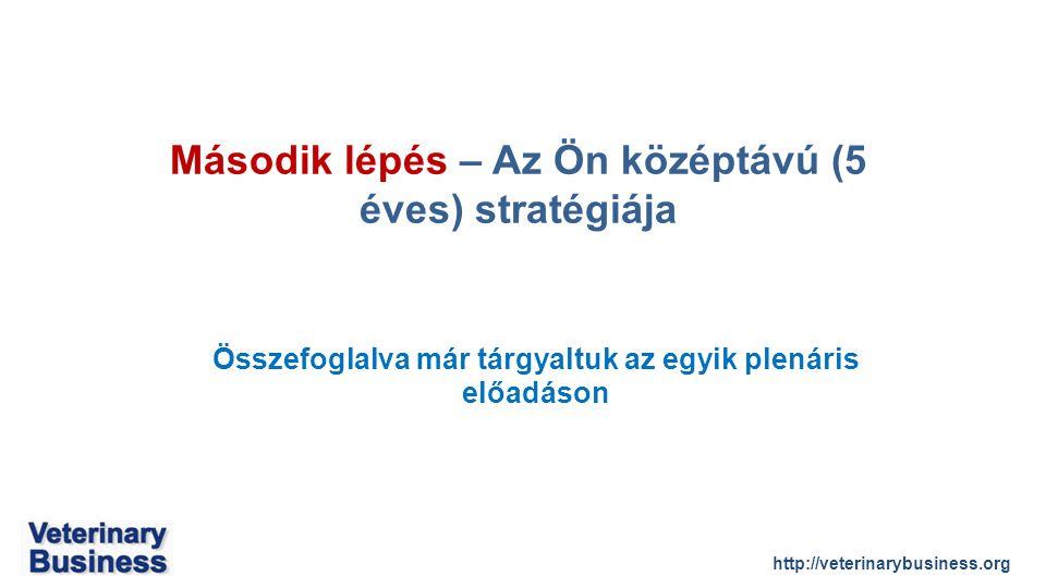 http://veterinarybusiness.org Összefoglalva már tárgyaltuk az egyik plenáris előadáson Második lépés – Az Ön középtávú (5 éves) stratégiája