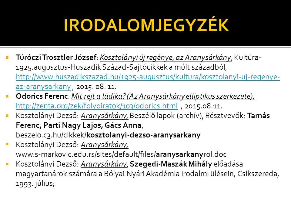  Túróczi Trosztler József: Kosztolányi új regénye, az Aranysárkány, Kultúra- 1925.augusztus-Huszadik Század-Sajtócikkek a múlt századból, http://www.huszadikszazad.hu/1925-augusztus/kultura/kosztolanyi-uj-regenye- az-aranysarkany, 2015.