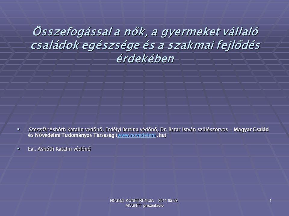 NCSSZI KONFERENCIA 2011.03.09.MCSNTT prezentáció 12 Kérdések….és Válaszok.