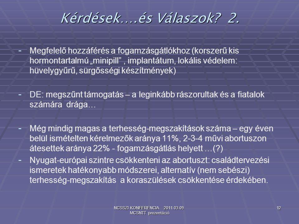 NCSSZI KONFERENCIA 2011.03.09. MCSNTT prezentáció 12 Kérdések….és Válaszok? 2. - - Megfelelő hozzáférés a fogamzásgátlókhoz (korszerű kis hormontartal