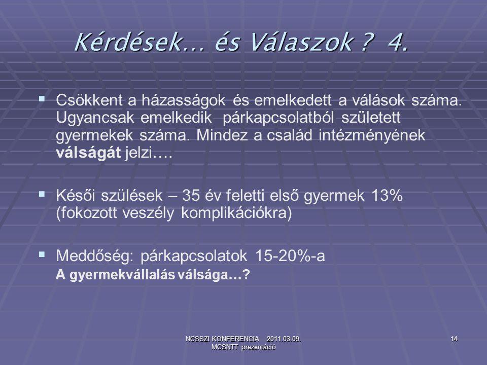 NCSSZI KONFERENCIA 2011.03.09. MCSNTT prezentáció 14 Kérdések… és Válaszok ? 4.   Csökkent a házasságok és emelkedett a válások száma. Ugyancsak eme