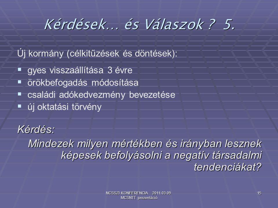 NCSSZI KONFERENCIA 2011.03.09. MCSNTT prezentáció 15 Kérdések… és Válaszok ? 5. Új kormány (célkitűzések és döntések):   gyes visszaállítása 3 évre