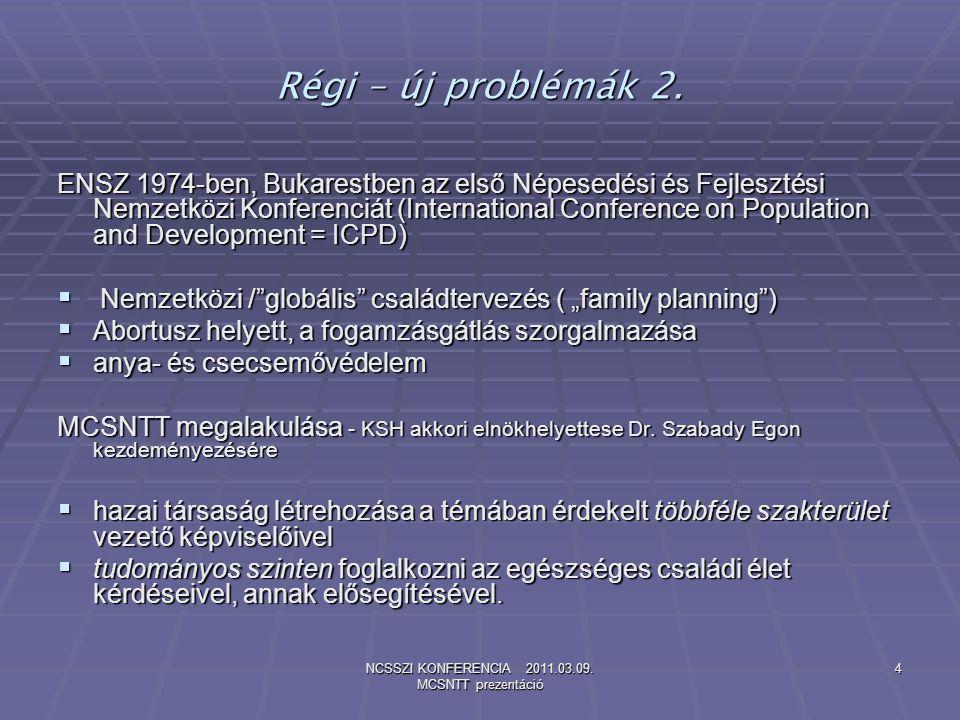 NCSSZI KONFERENCIA 2011.03.09. MCSNTT prezentáció 4 Régi – új problémák 2. ENSZ 1974-ben, Bukarestben az első Népesedési és Fejlesztési Nemzetközi Kon