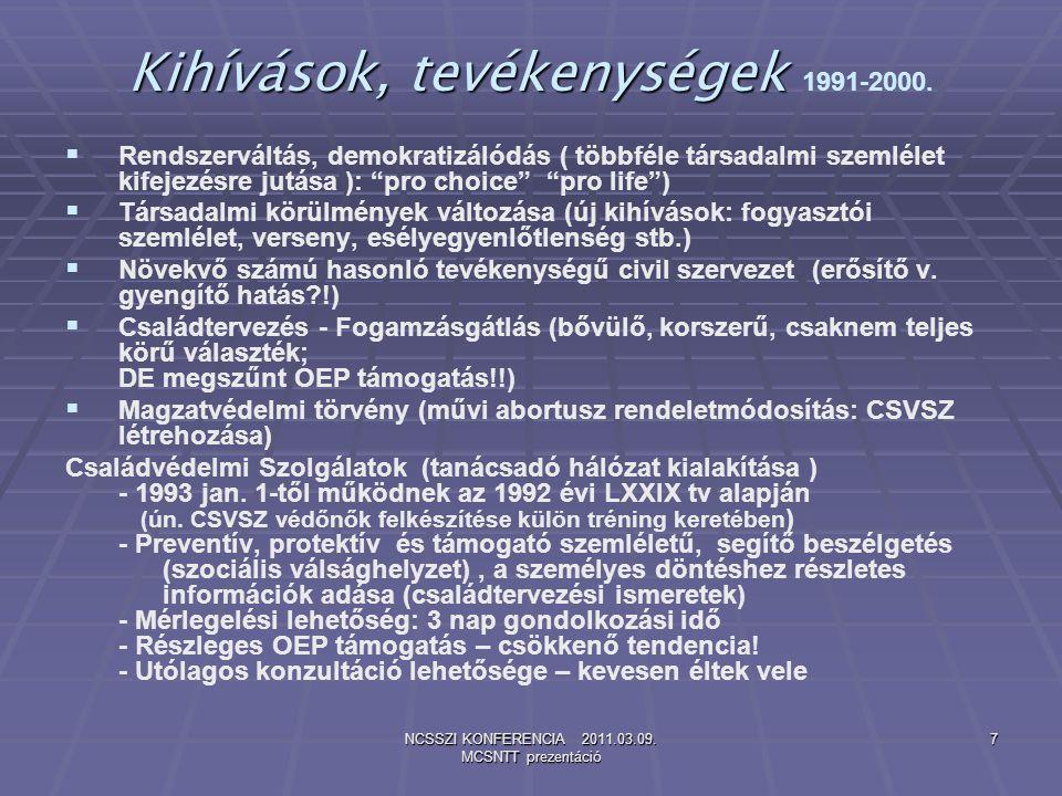 NCSSZI KONFERENCIA 2011.03.09. MCSNTT prezentáció 7 Kihívások, tevékenységek Kihívások, tevékenységek 1991-2000.   Rendszerváltás, demokratizálódás