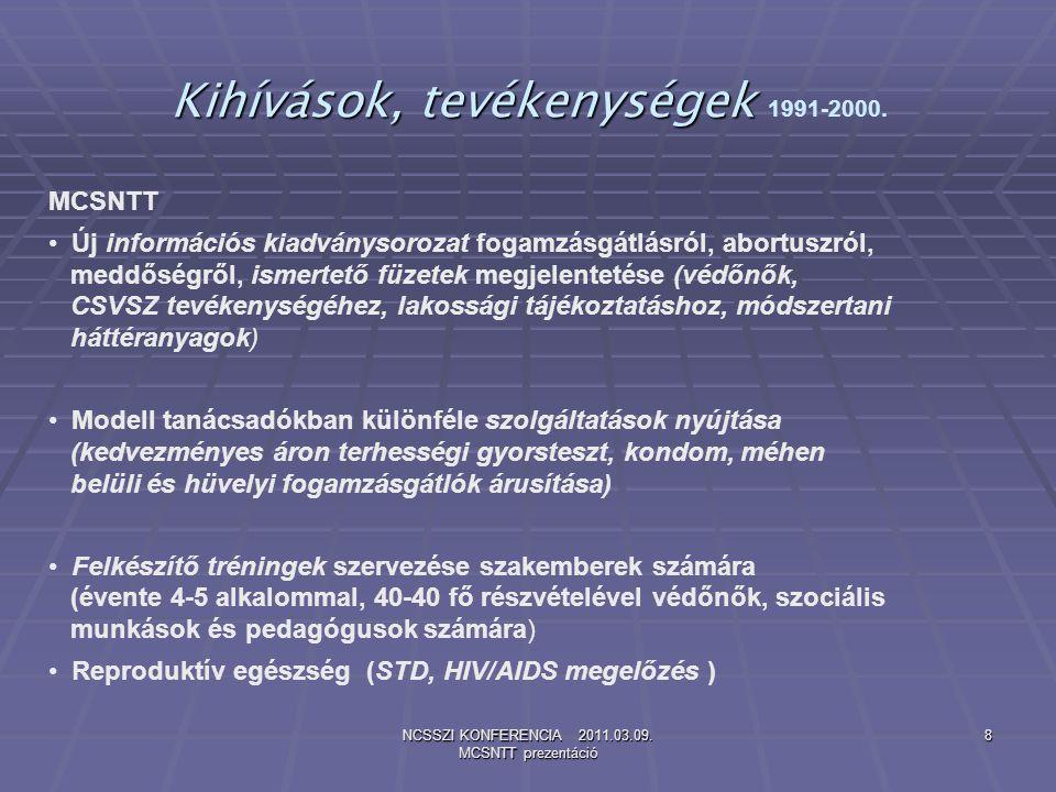 NCSSZI KONFERENCIA 2011.03.09. MCSNTT prezentáció 8 Kihívások, tevékenységek Kihívások, tevékenységek 1991-2000. MCSNTT Új információs kiadványsorozat