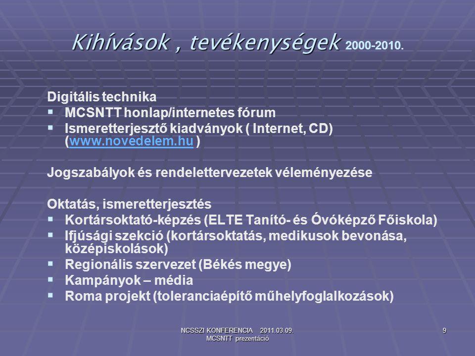 NCSSZI KONFERENCIA 2011.03.09. MCSNTT prezentáció 9 Kihívások, tevékenységek Kihívások, tevékenységek 2000-2010. Digitális technika   MCSNTT honlap/