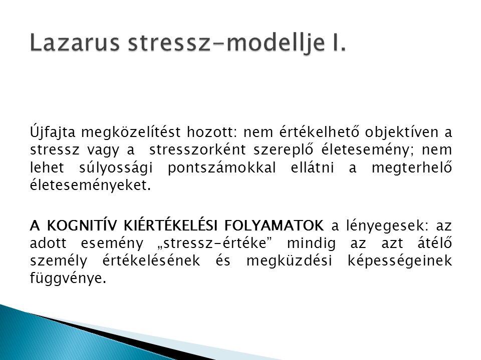 Újfajta megközelítést hozott: nem értékelhető objektíven a stressz vagy a stresszorként szereplő életesemény; nem lehet súlyossági pontszámokkal ellátni a megterhelő életeseményeket.