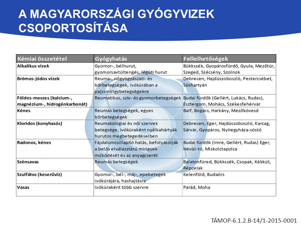 A MAGYARORSZÁGI GYÓGYVIZEK CSOPORTOSÍTÁSA TÁMOP-6.1.2.B-14/1-2015-0001