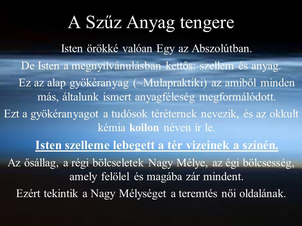 A Szűz Anyag tengere Isten örökké valóan Egy az Abszolútban.