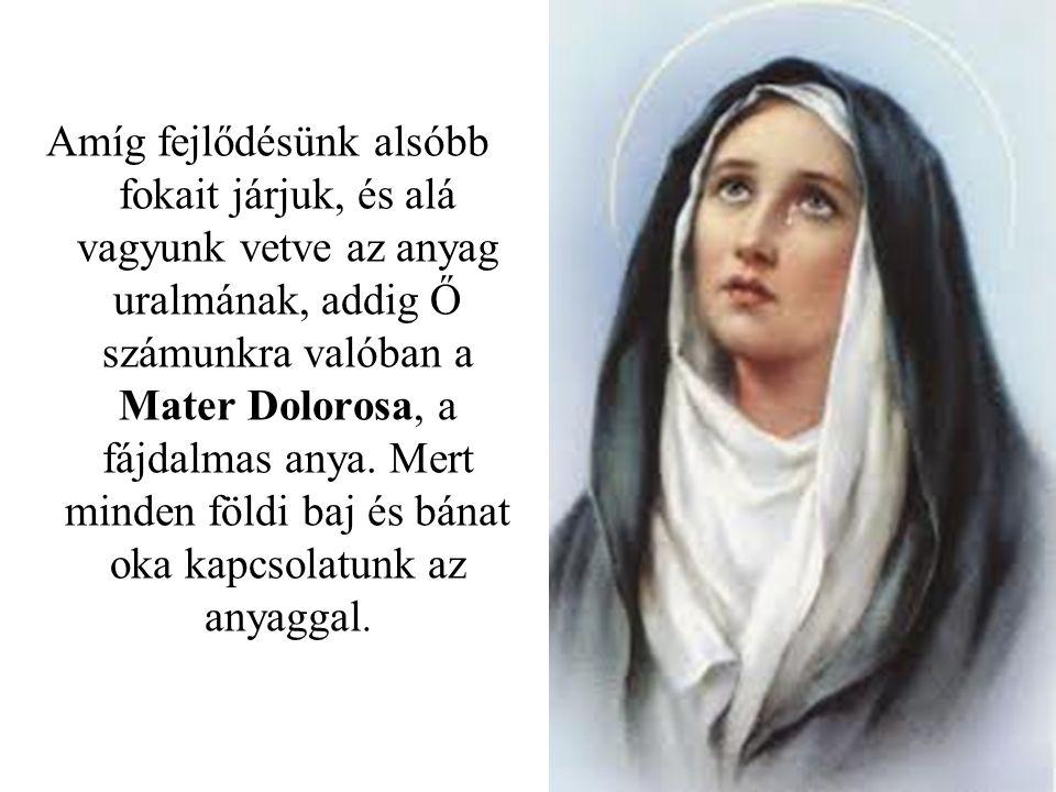 Amíg fejlődésünk alsóbb fokait járjuk, és alá vagyunk vetve az anyag uralmának, addig Ő számunkra valóban a Mater Dolorosa, a fájdalmas anya.