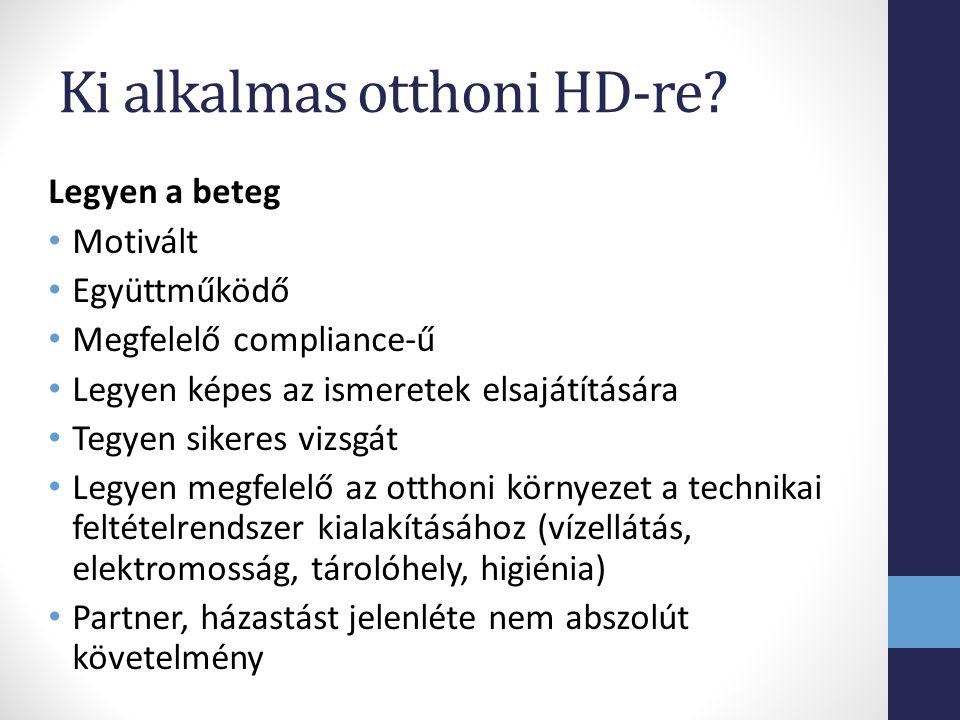 Ki alkalmas otthoni HD-re? Legyen a beteg Motivált Együttműködő Megfelelő compliance-ű Legyen képes az ismeretek elsajátítására Tegyen sikeres vizsgát
