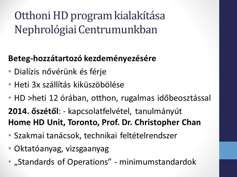 Otthoni HD program kialakítása Nephrológiai Centrumunkban Beteg-hozzátartozó kezdeményezésére Dialízis nővérünk és férje Heti 3x szállítás kiküszöbölése HD >heti 12 órában, otthon, rugalmas időbeosztással 2014.