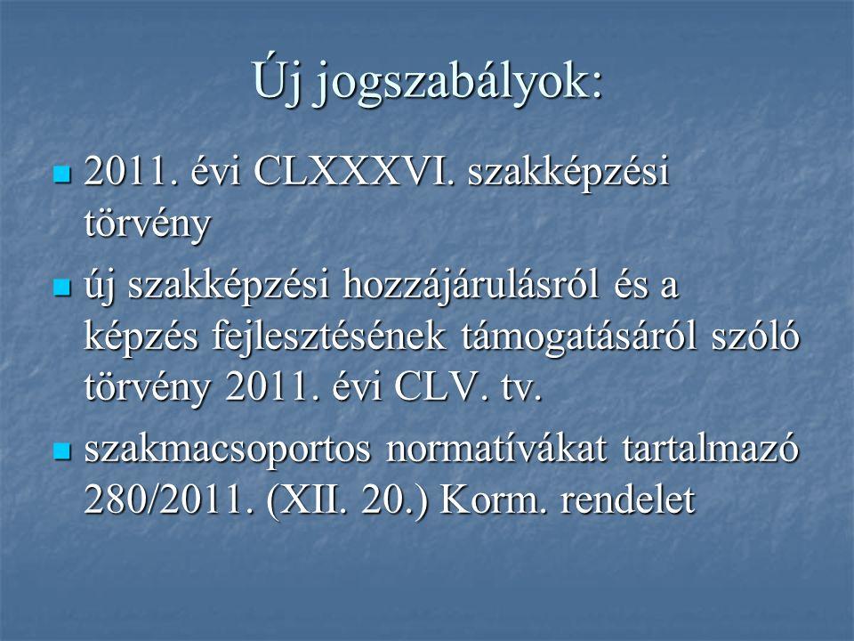 Új jogszabályok: 2011. évi CLXXXVI. szakképzési törvény 2011.