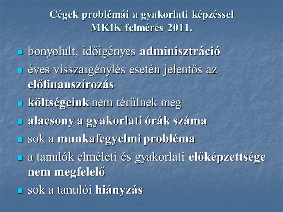 Cégek problémái a gyakorlati képzéssel MKIK felmérés 2011.