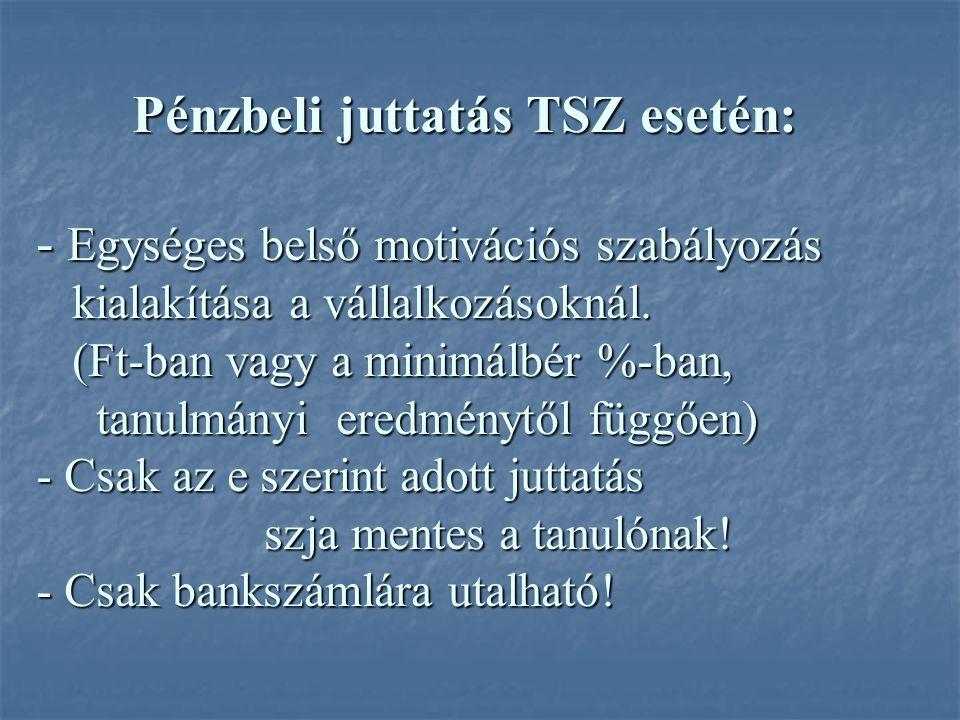 Pénzbeli juttatás TSZ esetén: - Egységes belső motivációs szabályozás kialakítása a vállalkozásoknál.