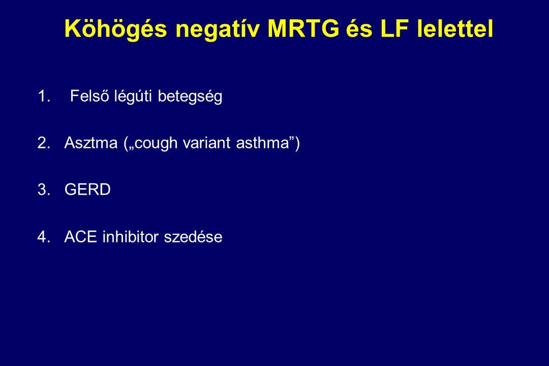 Köhögés negatív MRTG és LF lelettel 1.Felső légúti betegség 2.