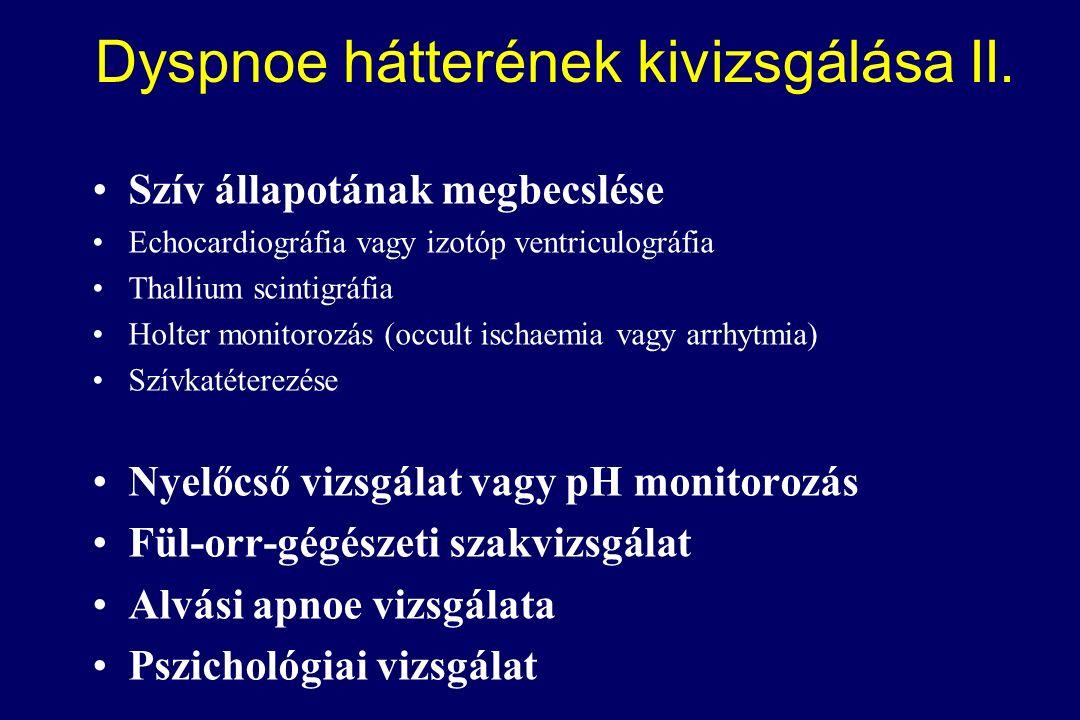 Szív állapotának megbecslése Echocardiográfia vagy izotóp ventriculográfia Thallium scintigráfia Holter monitorozás (occult ischaemia vagy arrhytmia) Szívkatéterezése Nyelőcső vizsgálat vagy pH monitorozás Fül-orr-gégészeti szakvizsgálat Alvási apnoe vizsgálata Pszichológiai vizsgálat Dyspnoe hátterének kivizsgálása II.