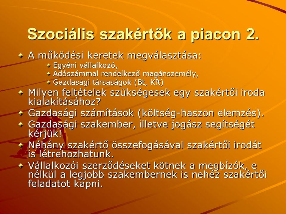 Szociális szakértők a piacon 2. A működési keretek megválasztása: Egyéni vállalkozó, Adószámmal rendelkező magánszemély, Gazdasági társaságok (Bt, Kft