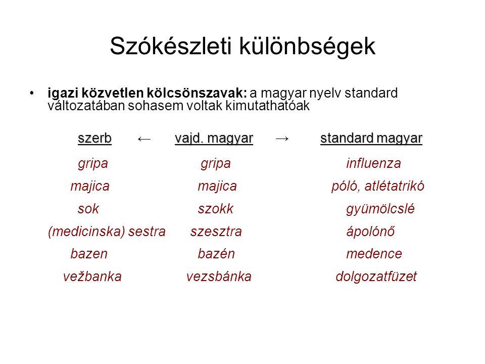 Szókészleti különbségek igazi közvetlen kölcsönszavak: a magyar nyelv standard változatában sohasem voltak kimutathatóak szerbvajd.