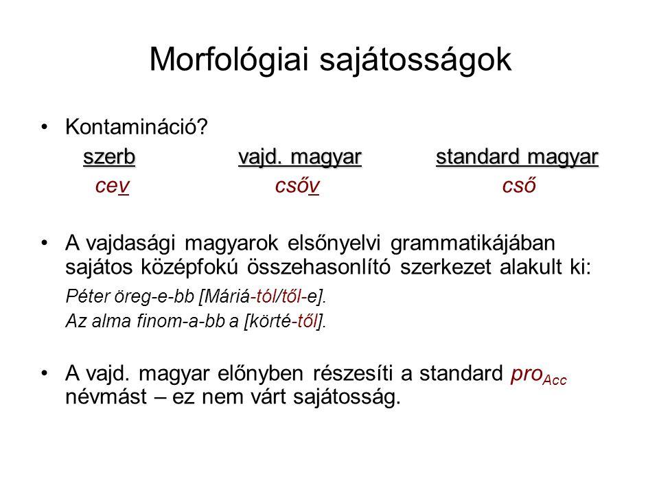 Morfológiai sajátosságok Kontamináció. szerbvajd.