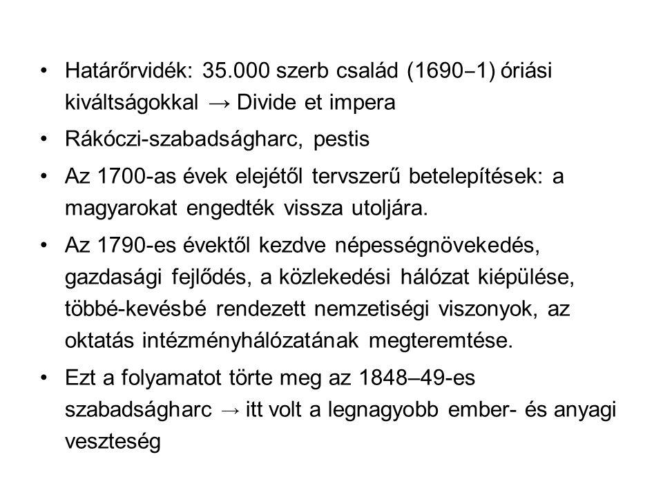 Határőrvidék: 35.000 szerb család (1690 ‒ 1) óriási kiváltságokkal → Divide et impera Rákóczi-szabadságharc, pestis Az 1700-as évek elejétől tervszerű betelepítések: a magyarokat engedték vissza utoljára.