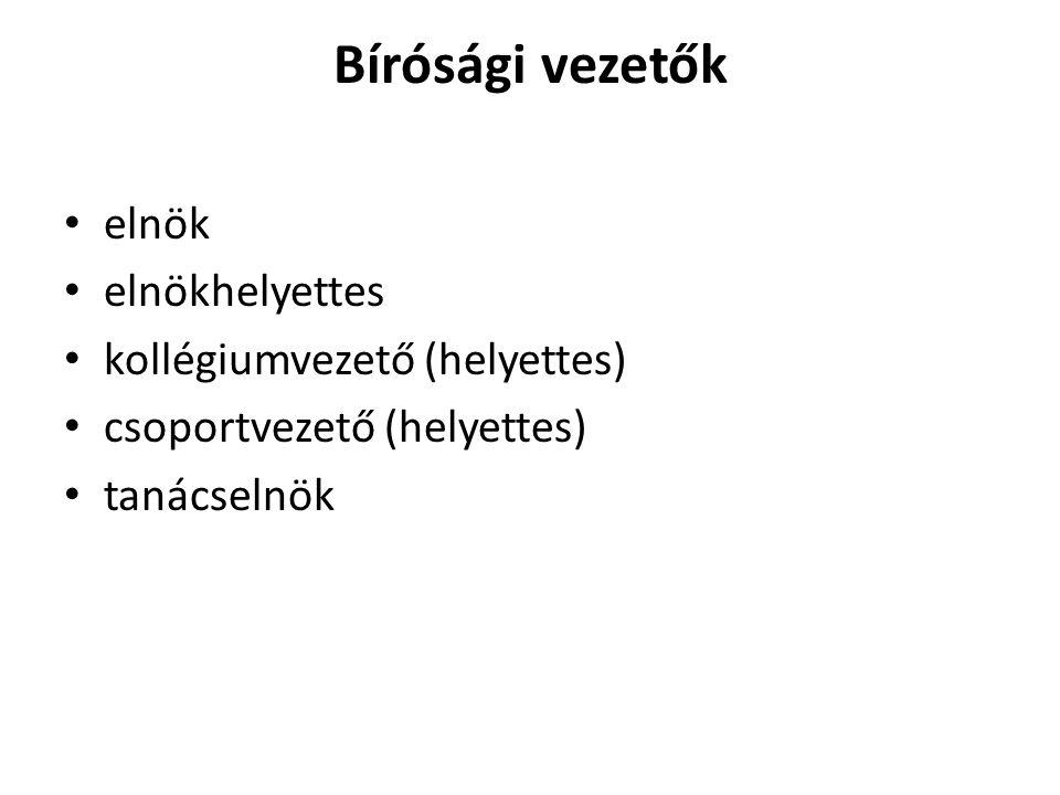 Bírósági vezetők elnök elnökhelyettes kollégiumvezető (helyettes) csoportvezető (helyettes) tanácselnök