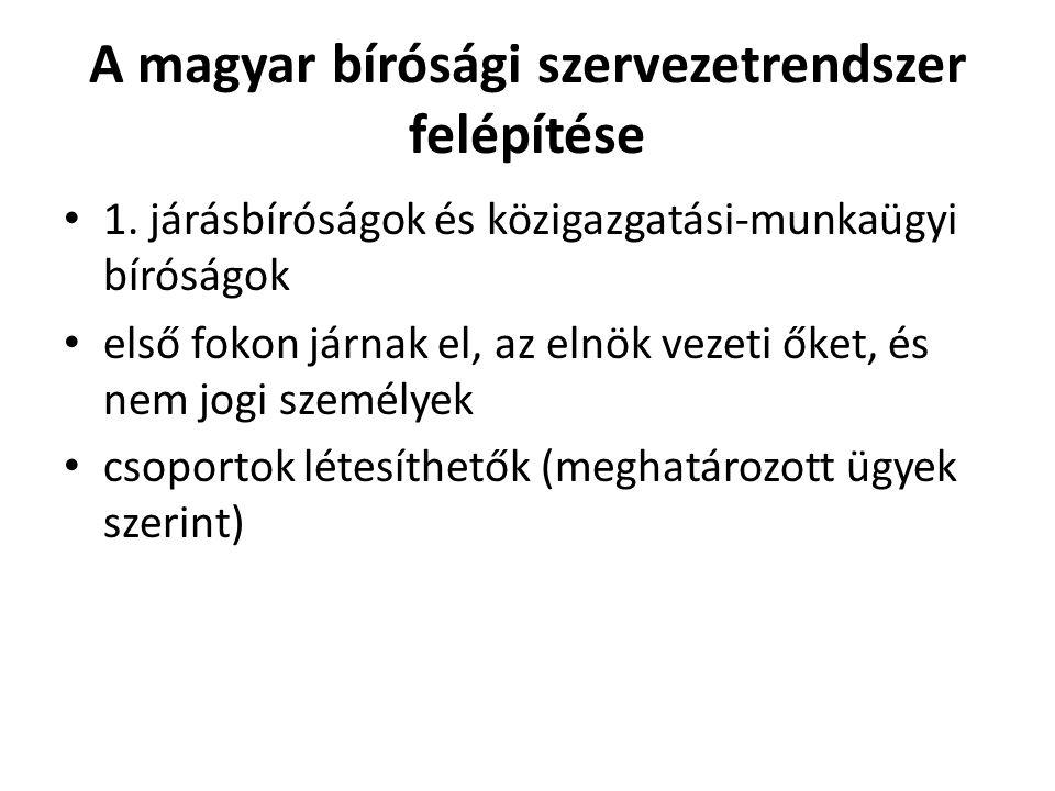 A magyar bírósági szervezetrendszer felépítése 1.