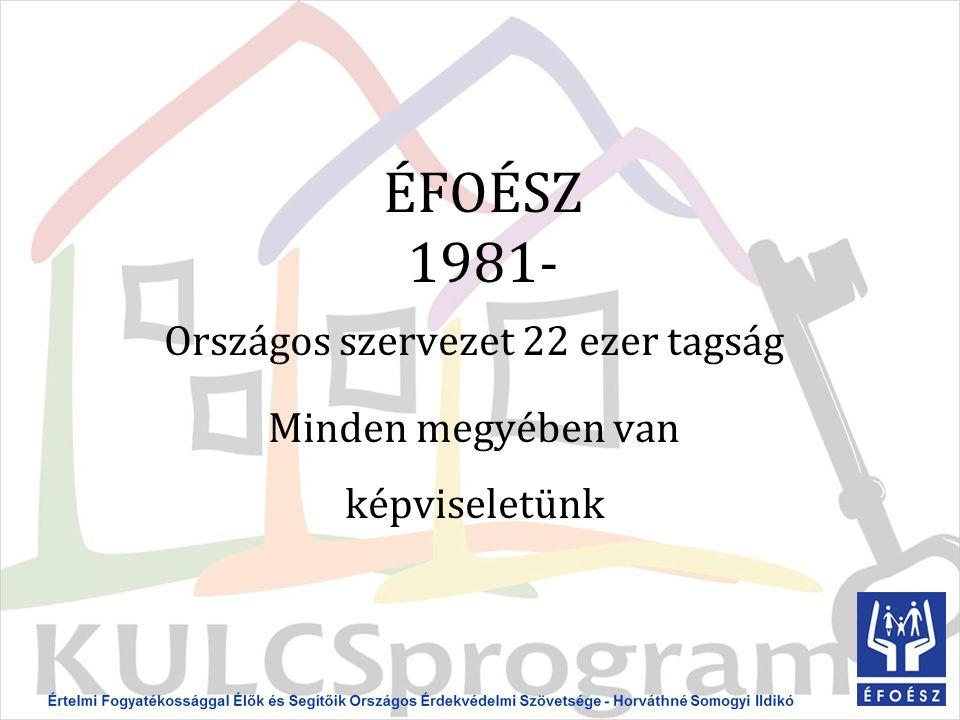 ÉFOÉSZ 1981- Országos szervezet 22 ezer tagság Minden megyében van képviseletünk