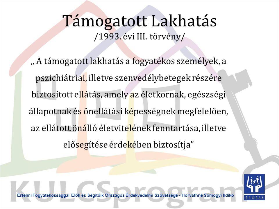 Értelmi Fogyatékossággal Élők és Segítőik Országos Érdekvédelmi Szövetsége - Horváthné Somogyi Ildikó Támogatott Lakhatás /1993.