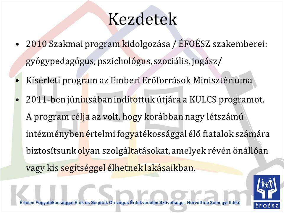 Kezdetek 2010 Szakmai program kidolgozása / ÉFOÉSZ szakemberei: gyógypedagógus, pszichológus, szociális, jogász/ Kísérleti program az Emberi Erőforrások Minisztériuma 2011-ben júniusában indítottuk útjára a KULCS programot.