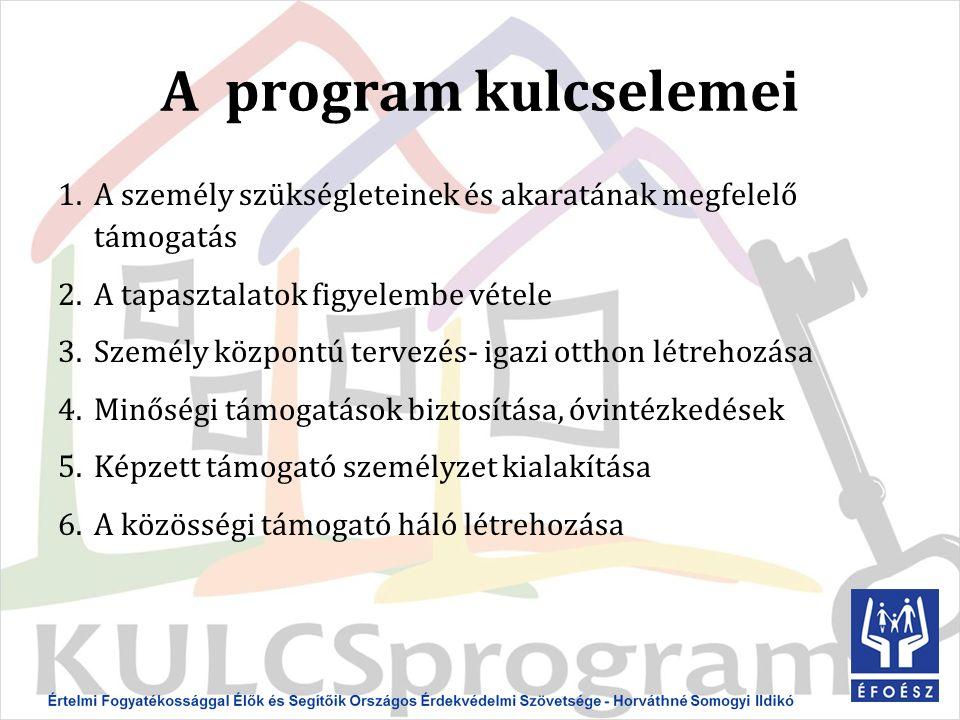 A program kulcselemei 1.A személy szükségleteinek és akaratának megfelelő támogatás 2.A tapasztalatok figyelembe vétele 3.Személy központú tervezés- igazi otthon létrehozása 4.Minőségi támogatások biztosítása, óvintézkedések 5.Képzett támogató személyzet kialakítása 6.A közösségi támogató háló létrehozása