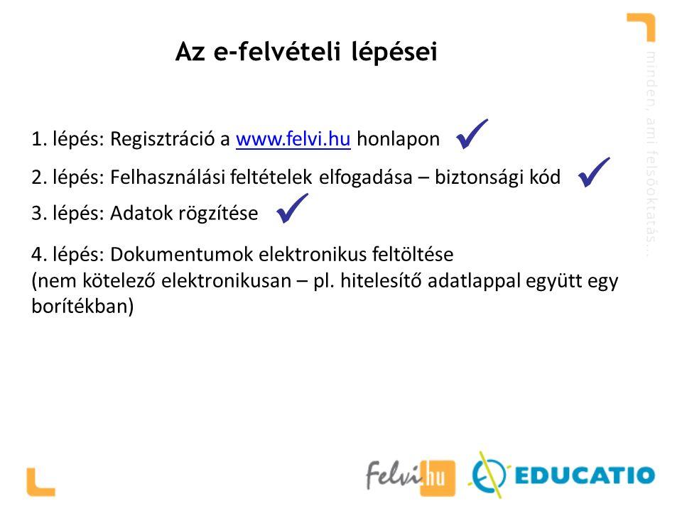 Az e-felvételi lépései 1. lépés: Regisztráció a www.felvi.hu honlaponwww.felvi.hu 2.