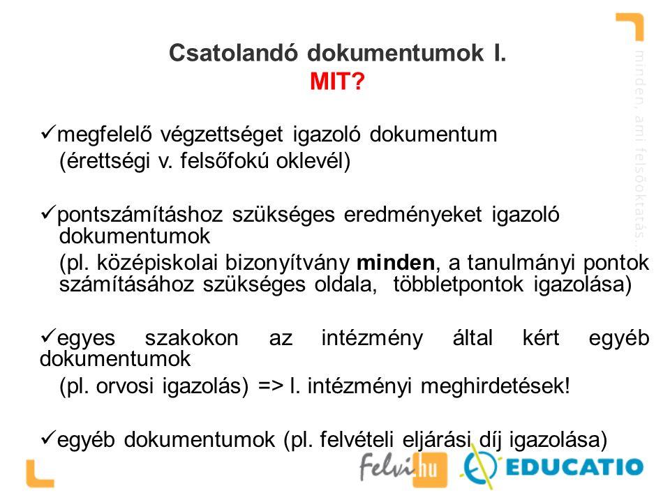 Csatolandó dokumentumok I. MIT? megfelelő végzettséget igazoló dokumentum (érettségi v. felsőfokú oklevél) pontszámításhoz szükséges eredményeket igaz