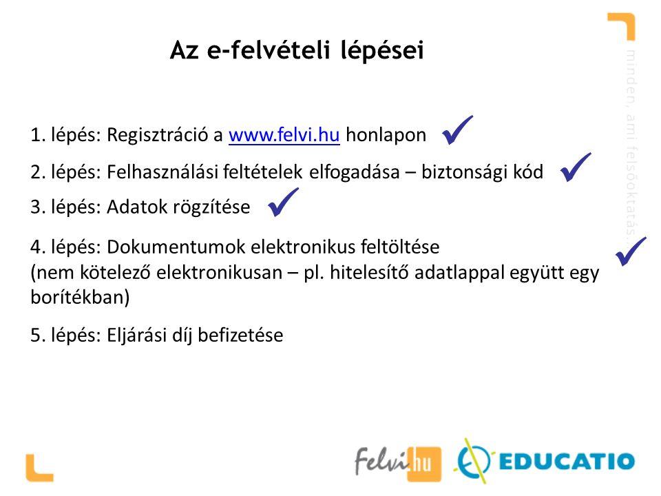 Az e-felvételi lépései 1. lépés: Regisztráció a www.felvi.hu honlaponwww.felvi.hu 2. lépés: Felhasználási feltételek elfogadása – biztonsági kód 3. lé