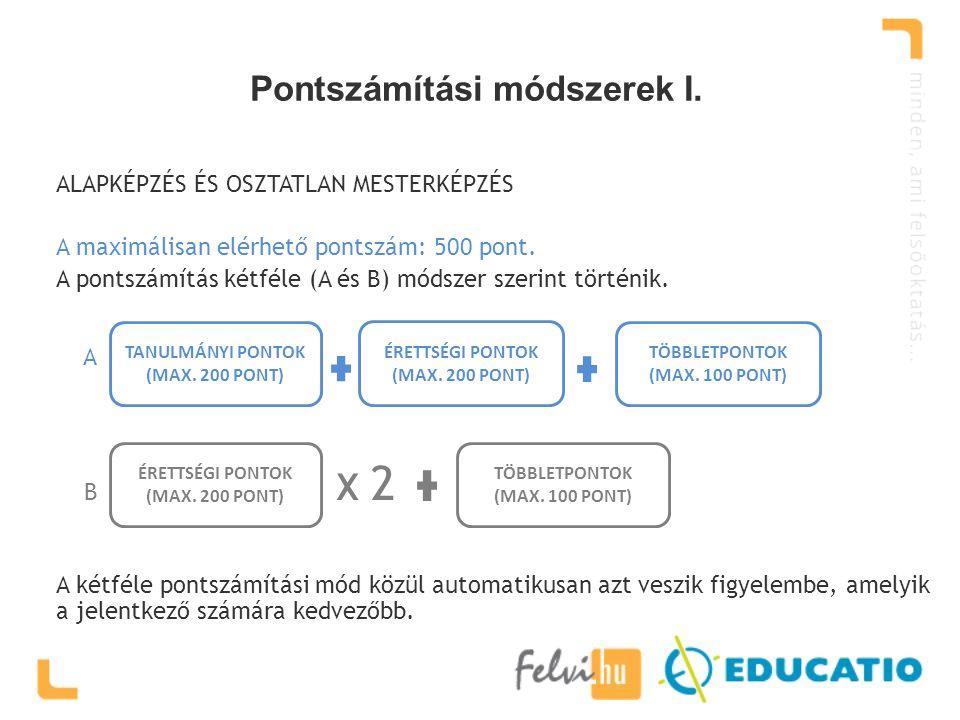 Pontszámítási módszerek I. TANULMÁNYI PONTOK (MAX.