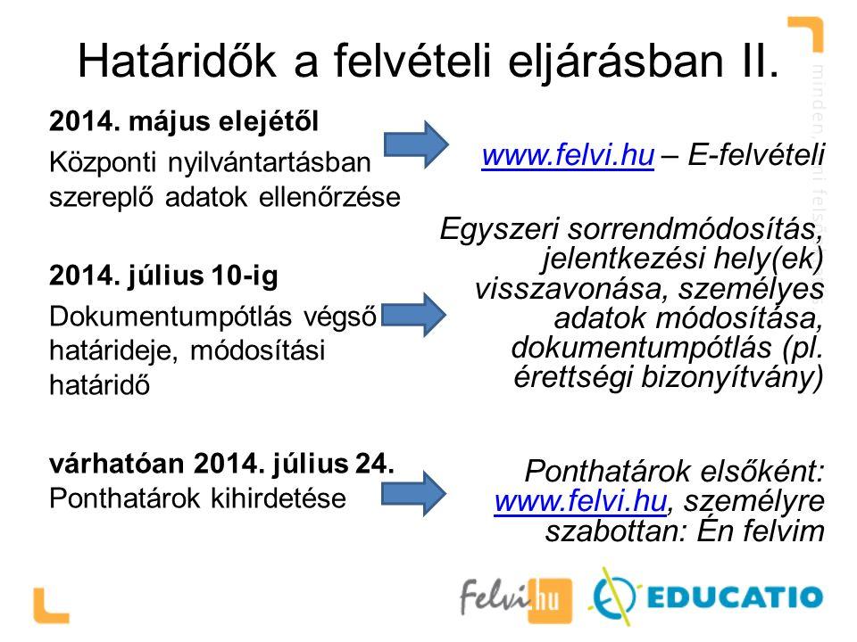 Határidők a felvételi eljárásban II. 2014. május elejétől Központi nyilvántartásban szereplő adatok ellenőrzése 2014. július 10-ig Dokumentumpótlás vé