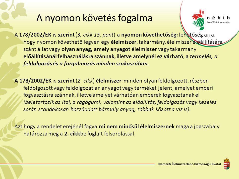 A nyomon követés fogalma A 178/2002/EK r. szerint (3. cikk 15. pont) a nyomon követhetőség: lehetőség arra, hogy nyomon követhető legyen egy élelmisze