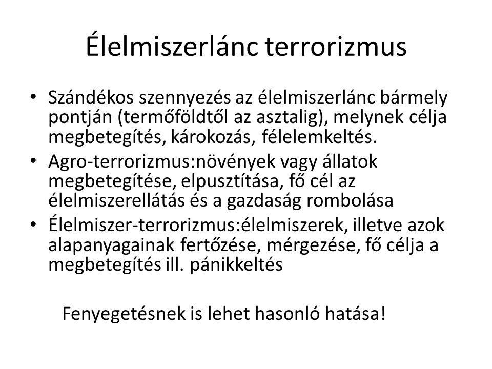 Élelmiszerlánc terrorizmus Szándékos szennyezés az élelmiszerlánc bármely pontján (termőföldtől az asztalig), melynek célja megbetegítés, károkozás, félelemkeltés.