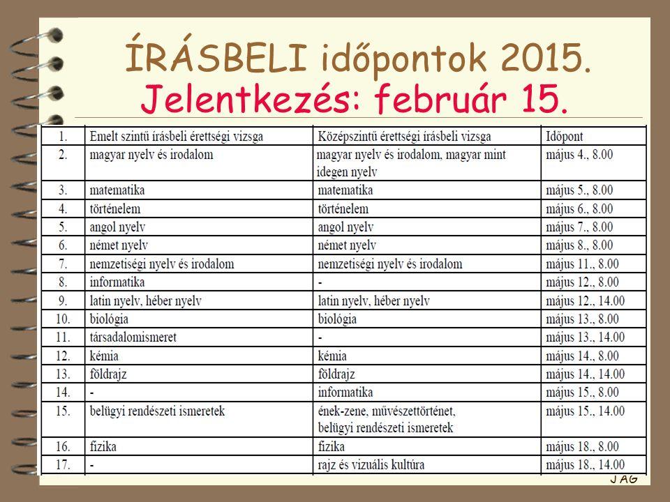 ÍRÁSBELI időpontok 2015. Jelentkezés: február 15. JAG