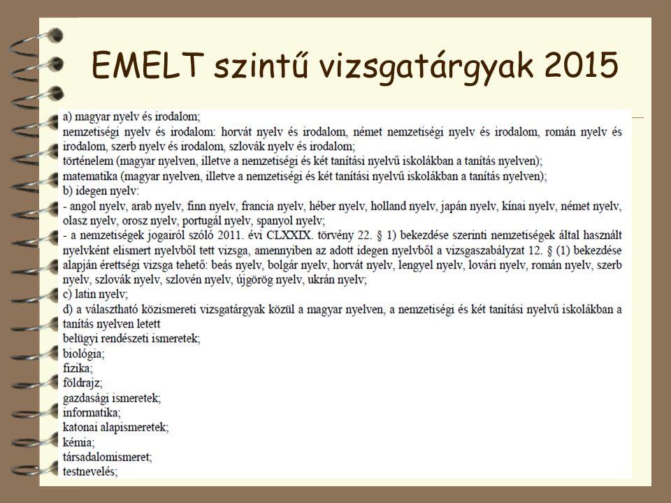 EMELT szintű vizsgatárgyak 2015