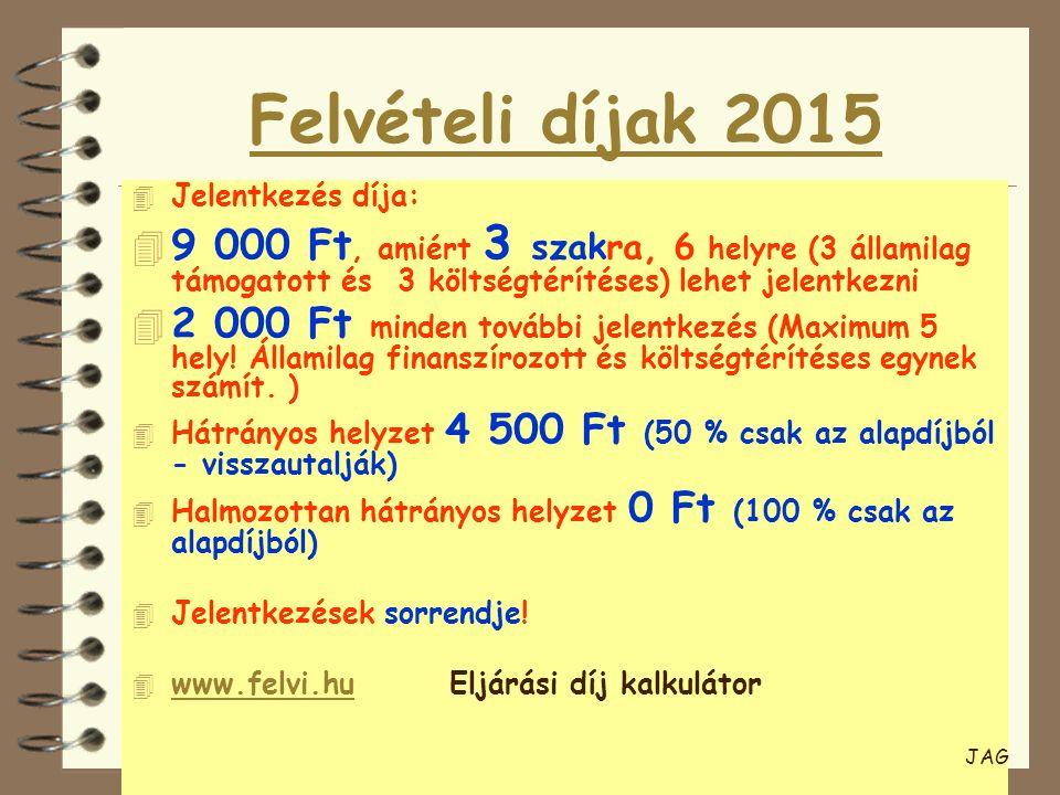 Felvételi díjak 2015 4 Jelentkezés díja: 4 9 000 Ft, amiért 3 szakra, 6 helyre (3 államilag támogatott és 3 költségtérítéses) lehet jelentkezni 4 2 00