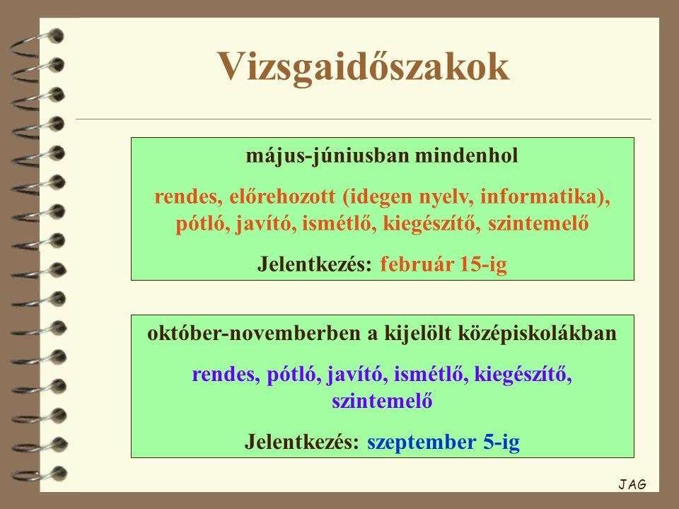 Vizsgaidőszakok május-júniusban mindenhol rendes, előrehozott (idegen nyelv, informatika), pótló, javító, ismétlő, kiegészítő, szintemelő Jelentkezés: február 15-ig október-novemberben a kijelölt középiskolákban rendes, pótló, javító, ismétlő, kiegészítő, szintemelő Jelentkezés: szeptember 5-ig JAG