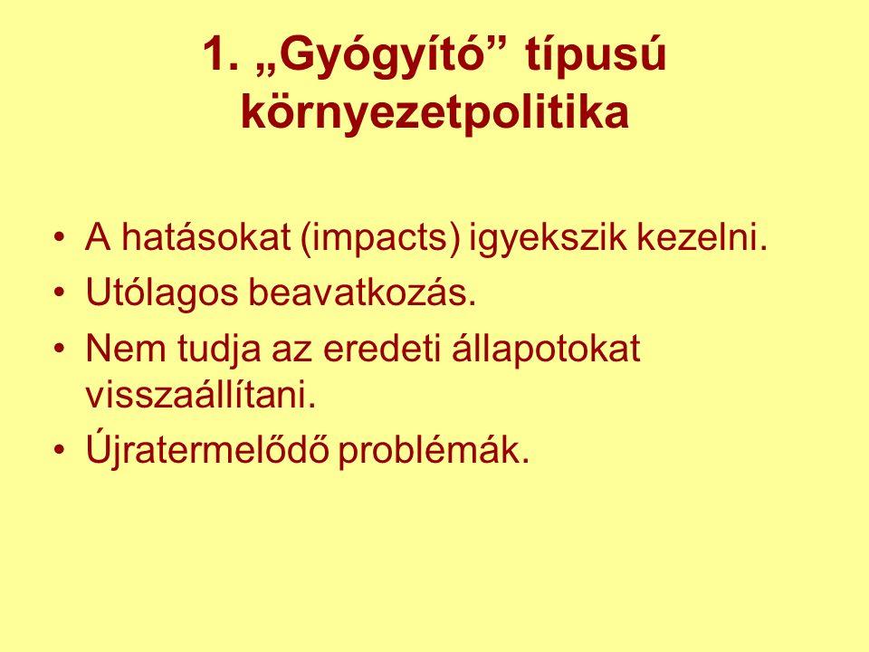 """1. """"Gyógyító típusú környezetpolitika A hatásokat (impacts) igyekszik kezelni."""