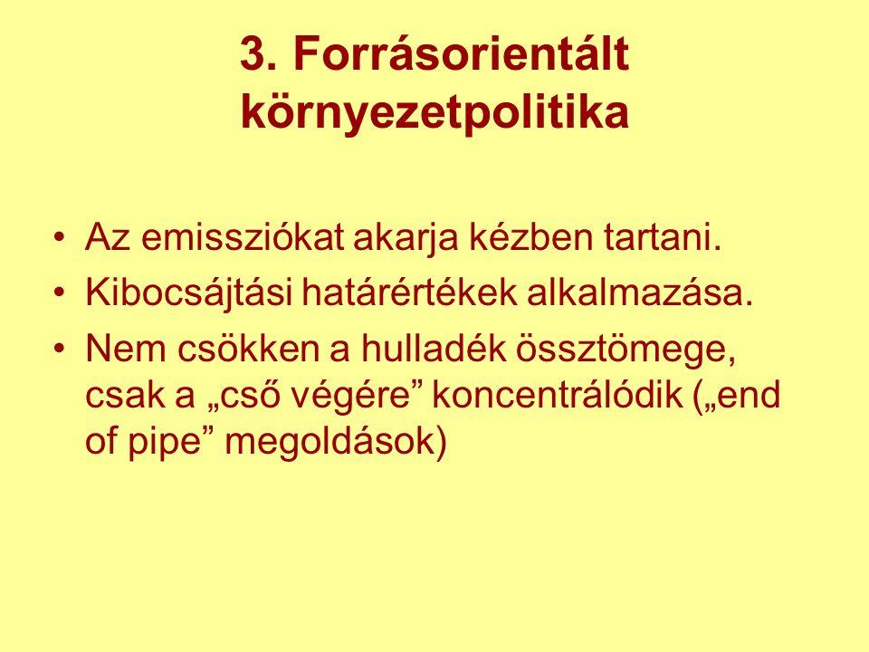 3. Forrásorientált környezetpolitika Az emissziókat akarja kézben tartani.