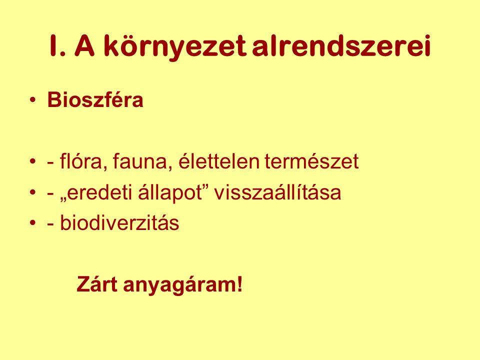 """I. A környezet alrendszerei Bioszféra - flóra, fauna, élettelen természet - """"eredeti állapot"""" visszaállítása - biodiverzitás Zárt anyagáram!"""