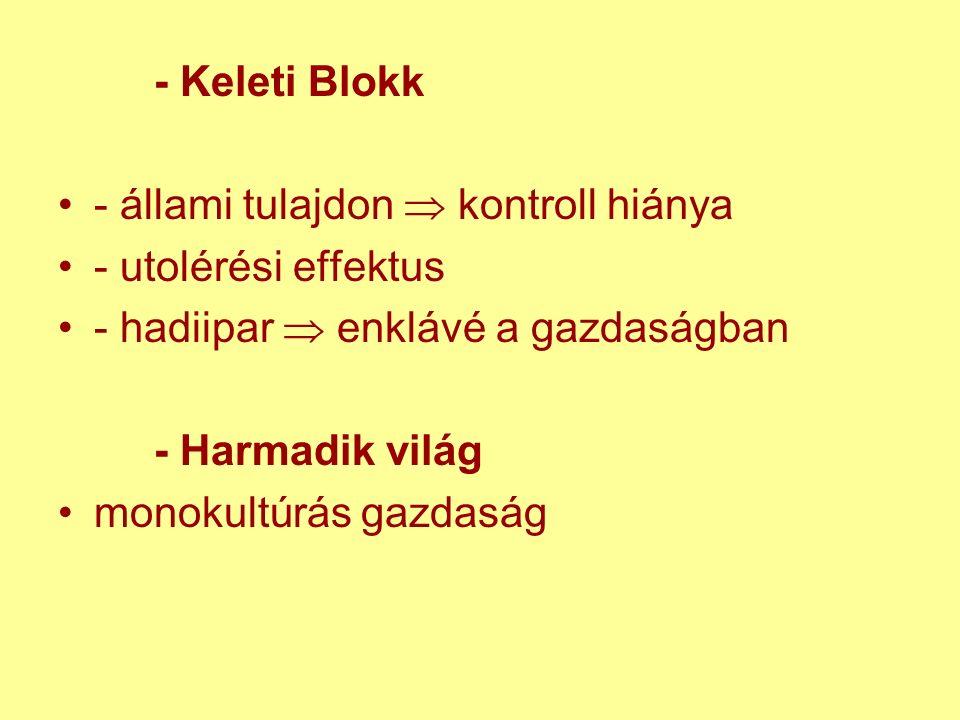 - Keleti Blokk - állami tulajdon  kontroll hiánya - utolérési effektus - hadiipar  enklávé a gazdaságban - Harmadik világ monokultúrás gazdaság