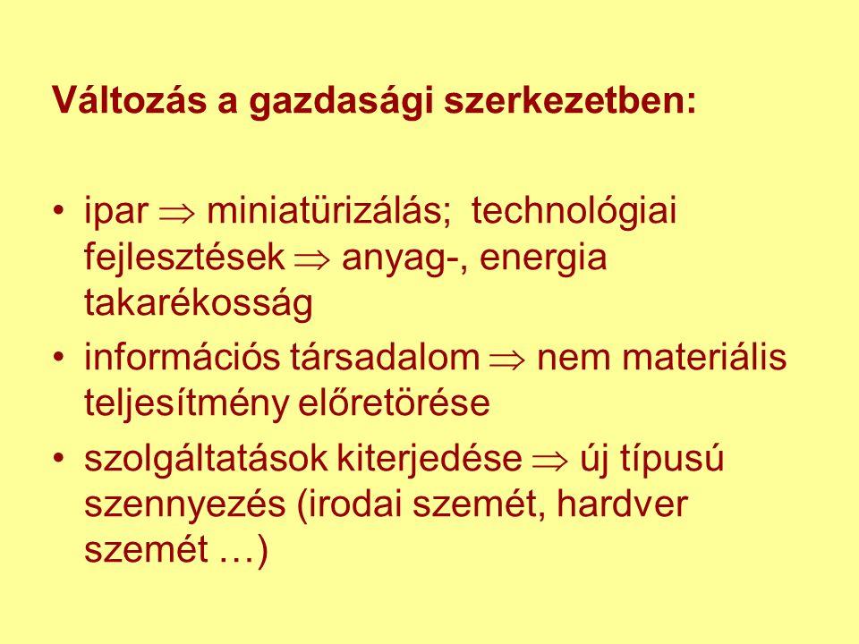 Változás a gazdasági szerkezetben: ipar  miniatürizálás; technológiai fejlesztések  anyag-, energia takarékosság információs társadalom  nem materiális teljesítmény előretörése szolgáltatások kiterjedése  új típusú szennyezés (irodai szemét, hardver szemét …)